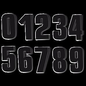 Kit 3 pz per Numeri Gara Nero Serie 0-9 PVC