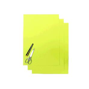 Kit Fogli 3pz - Crystall Liscio Giallo Fluo
