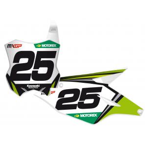 Kit Adesivi Portanumero Personalizzato modello Replica KAWASAKI Racing Team 2018