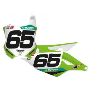Kit Adesivi Portanumero Personalizzato modello Replica KAWASAKI Racing Team 2020