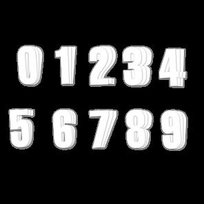 Kit 3 pz per Numeri Gara Bianco Serie 0-9 Crystall