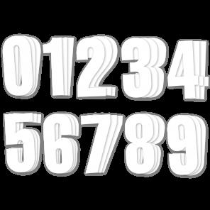 Kit 3 pz per Numeri Gara Bianco Serie 0-9 PVC