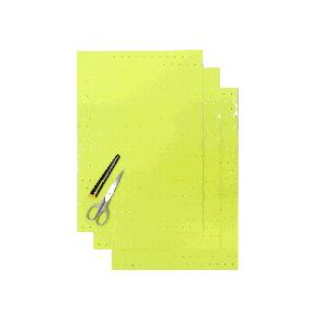 Kit Fogli 3pz - Crystall Giallo Fluo Forato